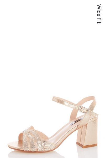 Wide Fit Gold Shimmer Diamante Swirl Heels